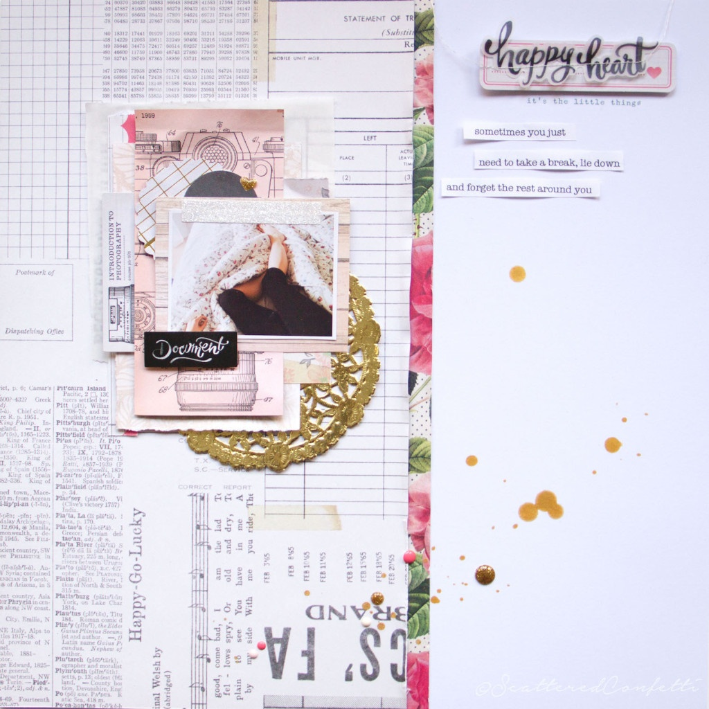 Happy Heart ScatteredConfetti Scrapbooking Layout Crate Paper