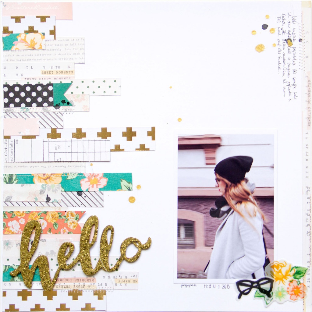 Hello ScatteredConfetti Scrapbooking Layout Crate Paper